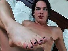 Brunette Tranny Gets Very Much Turned On 2