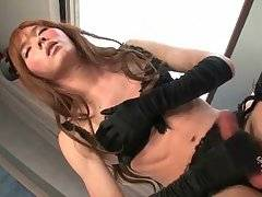 Slutty Asian Tranny Lisa Rubs Her Boner 1